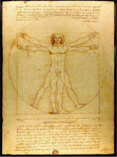 Vitruvian man, by Leonardo Da Vinci. Public domain image.